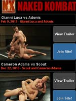 Naked Kombat! Muscle studs fight balls to the wall for sexual domination! Gay wrestling!